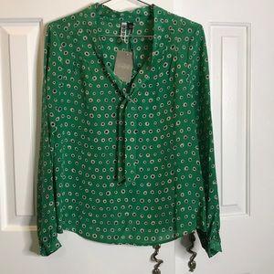 Anthropologie Sariah Blouse Silk Green Polka Dot